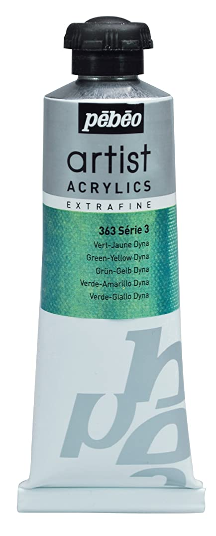 Pébéo Extra Fine Artist Acrylic Art Paint, Green-Yellow Dyna, 60ml