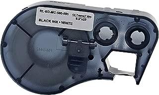 MC-500-595-WT-BK Vinyl B-595 Black on White Label Maker Cartridge, 25' Width x 1/2