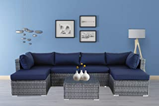 Outdoor Rattan Sofa Patio Furniture Garden Couch Sectional Set Conversation Sofa Sets Outside Sofa Navy Blue Cushions 7 Pcs
