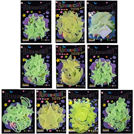 Birthday Popper Glow in The Dark Space Theme Radium Sticker + Ready Gift Wrapped + Thank You Card (Set of 10) Birthday Party Return Gifts for Kids of All Age Group in Bulk
