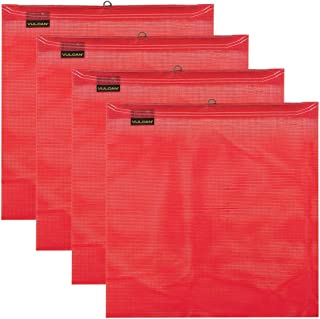 VULCAN Brands Red Safety Flag with Wire Loop for Wide and Oversize Load Marking On Moving Vehicles (18'' x 18'' - Vinyl Coated Polyester Construction - 4 Pack)