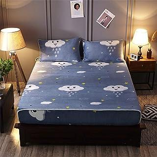 Fleece Fitted Sheet Plain Thermal Warm Cosy Super Soft Bedsheet Bed Linen,180x200cm +(48x74cm) x2