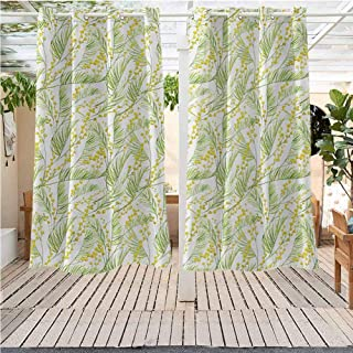 DONEECKL Garden Art Grommet Curtain Watercolor Mimosa Pattern Wild Spring Flowers Brush Strokes Effect Room Darkening, Noise Reducing W55 x L72 inch Apple Green and Yellow