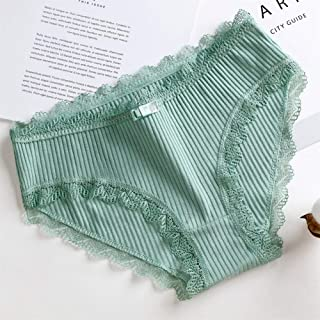 SHENTIANWEI Ms. cute girl sexy lace stripe cotton underwear low-waist briefs file (Color : Green, Size : L)