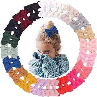 40 قطعة/20 لونًا من مشابك شعر للبنات الصغار من نسيج اللباد - إكسسوارات شعر للأطفال الرضع والفتيات الصغار