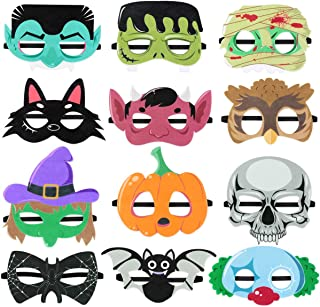 Toyvian Halloween Superhero Foam Mask Cartoon Witch Monster Bat Spider Felt Masks for Kids Halloween Party Favors 12 Pieces