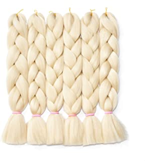 6Pcs/Lot 24inch Jumbo Braids Salon Crochet Ombre Twist Braiding Hair Extensions High Temperature Synthetic Fiber Hair for 100g/pc (613#)