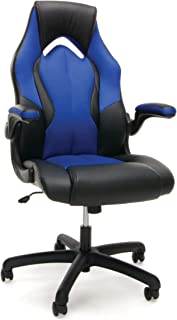 Essentials Racing Style Leather Gaming Chair - Ergonomic Swivel Computer, Office or Gaming Chair, Blue