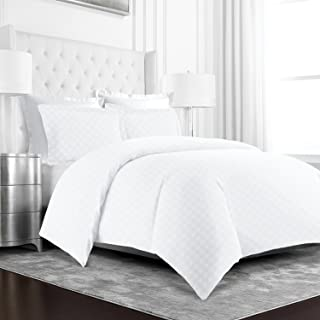 Beckham Hotel Collection Luxury Soft Brushed Microfiber Duvet Cover Set with Embossed Diamond Pattern -Full/Queen - White