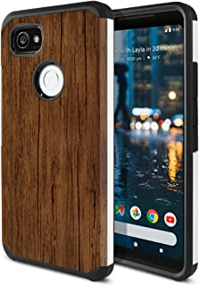 FINCIBO Case Compatible with Google Pixel 2 XL (6 inch) 2017, Dual Layer Hard Back Hybrid Protector Case Cover Anti Shock TPU for Pixel 2 XL 2017 (NOT FIT Pixel 2 5 inch) - Red Brown Wood