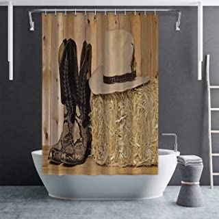 Hitecera Western Decor Eco Friendly Shower Curtain,Snake Skin Cowboy Boots Timber Planks in Barn with Hay Old West Austin Texas Cloth Fabric Bathroom Decor Set with Hooks,59''Lx70''W
