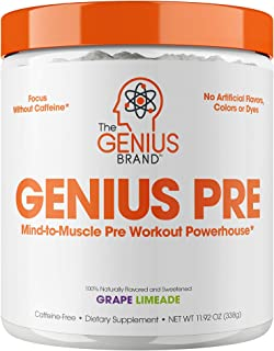 Genius Pre Workout – All Natural Nootropic Preworkout Powder & Caffeine-Free Nitric Oxide Booster with Beta Alanine and Al...