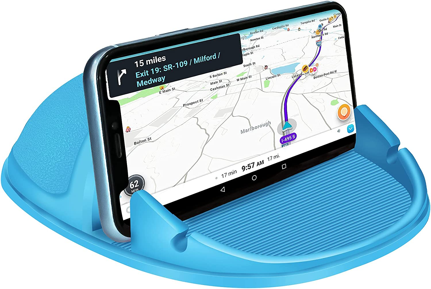 Loncaster Car Phone Holder, Car Phone Mount Silicone Car Pad Mat for Various Dashboards, Slip Free Desk Phone Stand Compatible with iPhone, Samsung, Android Smartphones, GPS Devices and More, Blue