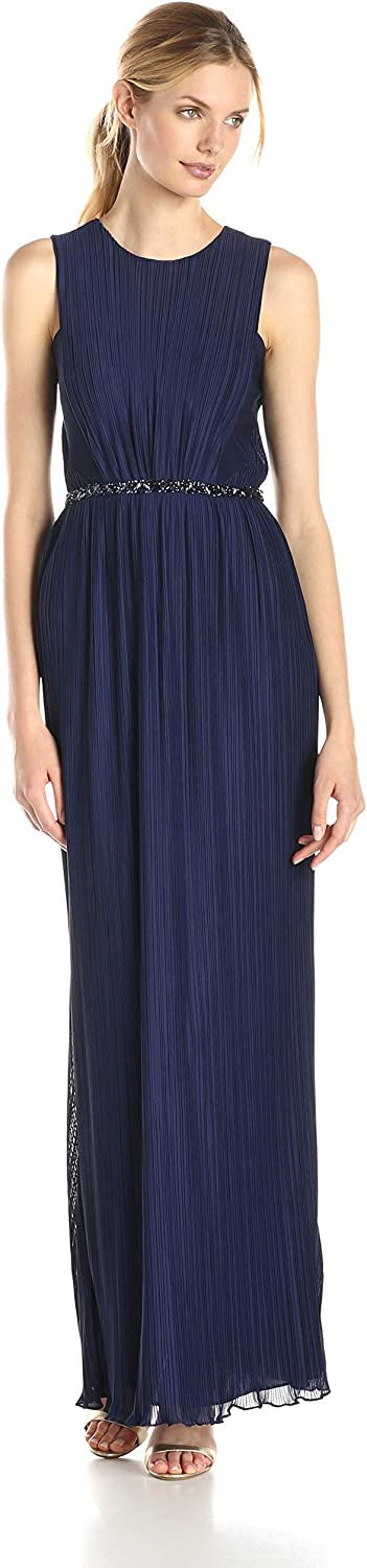 JS Boutique Women's Pleated Front Sleeveless Gown with Beads
