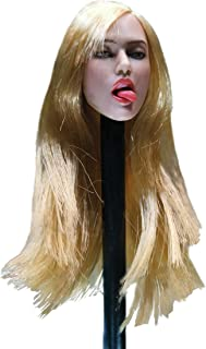 Phicen 1/6 Female Head Carved Lips and Tongue Expression (Gold Long Straight Hair)