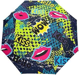 Beso del Día de San Valentín Labios Rojos Lunares Paraguas Abierto automático Paraguas de Lluvia para el Sol Paraguas Plegable Compacto UV automático