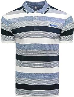 Lambretta Mens Grindle Stripe Short Sleeve Polo Shirt - Navy/Denim