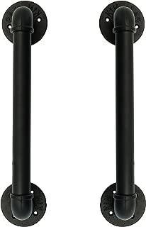 Set of 2 Industrial Pipe Gate Pull Handle, Grab Bar, Towel Bar, Antique Rustic Cast Iron Handrail - Matte Black, 18 Inch
