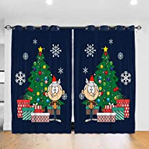 FDASLJ Customized Blackout Window Curtains Lincoln Loud House Around The Christmas Tree Grommet Thermal Insulated Room Darkening Drape for Bedroom Living Room 52 X 72 Inch, 2 Panels