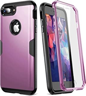 YOUMAKER Case for iPhone 8 Plus & iPhone 7 Plus, Full Body Rugged with Built-in Screen Protector Heavy Duty Protection Slim Fit Shockproof Cover for Apple iPhone 8 Plus (2017) 5.5 Inch - Purple