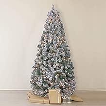 OasisCraft Snow Flocked Christmas Tree 7.5 Ft with 500 Light, Prelight Artificial Pine Xmas Tree
