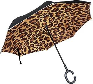 ALAZA Animal Leopard Print Inverted Umbrella, Large Double Layer Outdoor Rain Sun Car Reversible Umbrella