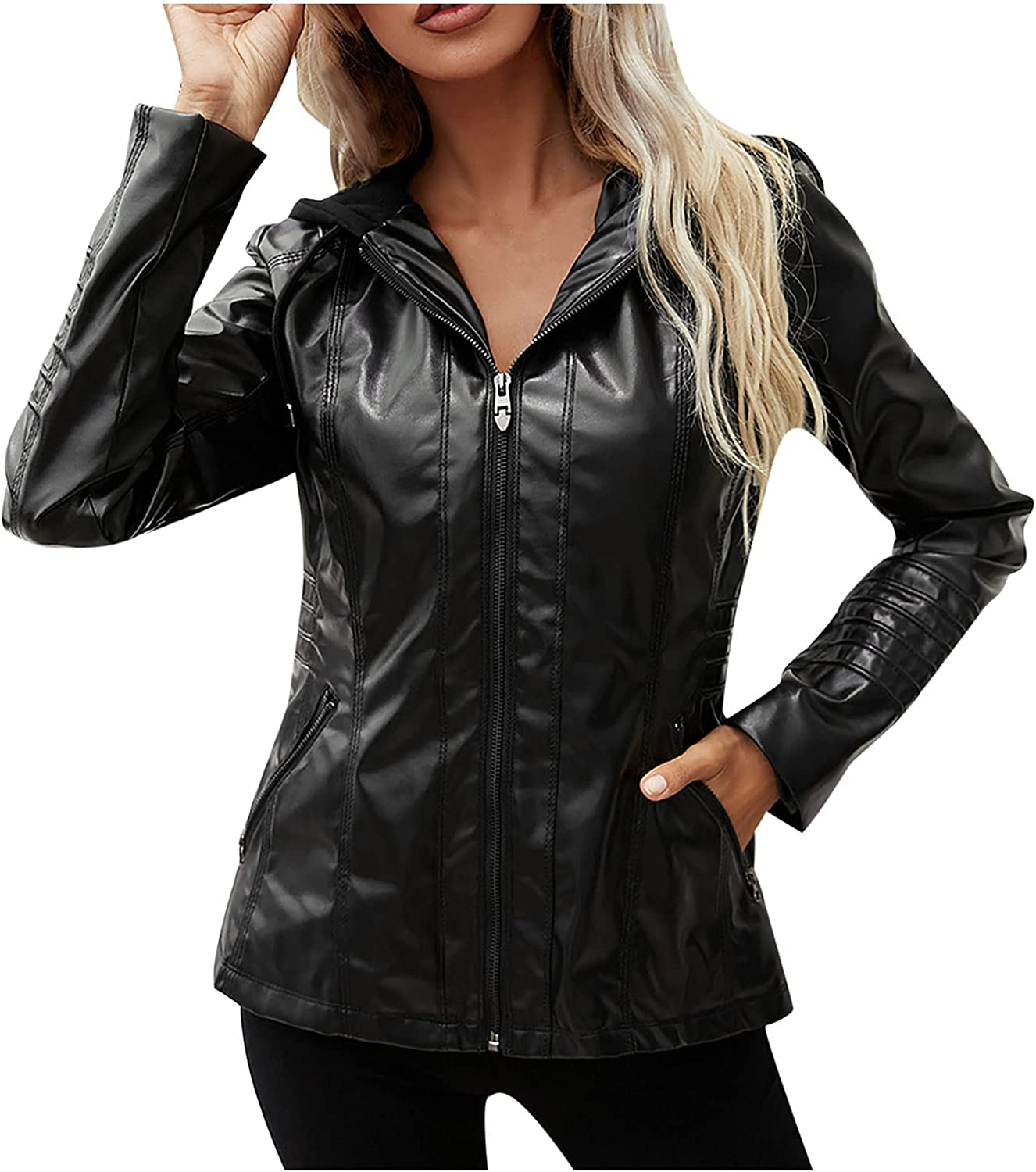 Women's PU Large special price !! Max 50% OFF Leather Jacket Stylish Pockets Hooded Zipper Out