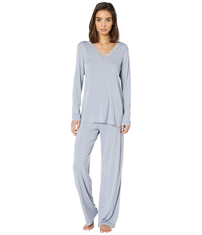 Natori Feathers Long Sleeve PJ (Slate Blue) Women