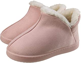 INMINPIN Boy's Girl's Memory Foam Closed Back Slippers Suede Plush Home Shoes Winter Warm Home Slippers Boots Indoor Outdoor Anti-Slip Shoes