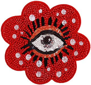 1 Pcs Fashion Beaded Sun Flower Badges Sequin Eyes Patches Applique Clothes Pants Embroidery Decorated Sewing Supplies (Style 13)
