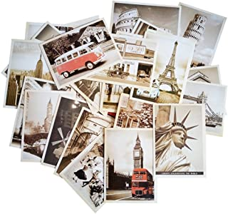 Fancyoung 32 PCS 1 Set Vintage Retro Old Travel Sights Landscape Postcard Greeting Cards Souvenir Gifts for Worth Collecting