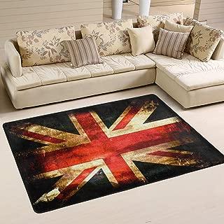 CENHOME Custom Area Rugs Retro Old UK The British Flag Floor Mat Indoor/Outdoor Non Slip Rugs Home Large Entryway Carpet Doormat