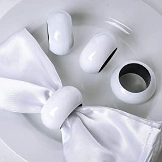 Efavormart 4 PCS Wholesale White Acrylic Napkin Rings for Place Settings Wedding Receptions Dinner or Holiday Parties Tableware