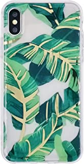 HolaStar Tropical Case for iPhone X/XS, Ultra Thin Glossy Bahama Green Palm Leaves with Gold Stem Soft Cover