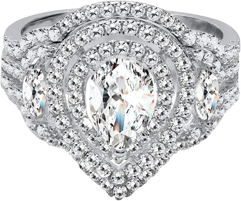 Sterling Silver Cubic Fashion Zirconia Dainty Marquis Two Pear Piece and Super beauty product restock quality top