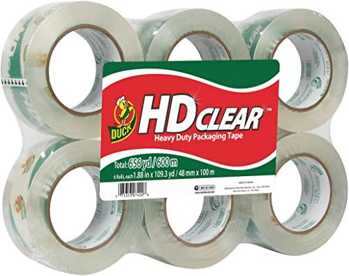 Duck HD Clear Heavy Duty Packing Tape, 1.88 Inch x 109 Yards, 6 Rolls (299016)