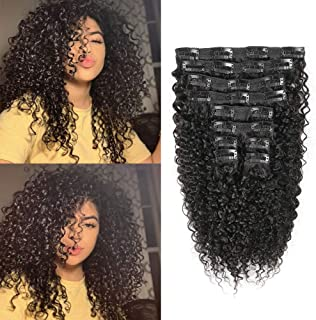 CHARMARTIST Clip in Hair Extensions Human Hair Thick Kinky Curly Clip Ins for Black Women 120 Gram 10 Pcs/Set Fit for Full Head Double Weft, 14 inch