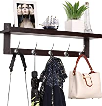 HOMFA Bamboo Entryway Wall Shelf Hanging Shelf 29 in L, Wall-Mounted Coat Hook Rack with 5 Dual Metal Hooks for Hallway, B...