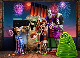 Birthday Background Drop 7x5 Wonderful Firework Vinatge Wood Floor with Cartoon Character Hotel Transylvania Birthday Banner Custom Name