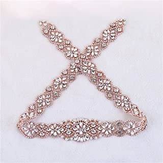 XINFANGXIU Wedding Bridal Sash Applique, 34.3 x 1.9 in, Crystal Rhinestone Applique Pearls Beaded Long Handmade Sewn Iron on for DIY Wedding Bridal Belts - Rose Gold