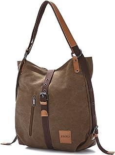 JOSEKO Canvas Tasche, Damen Rucksack Handtasche Vintage Umhängentasche Anti Diebstahl Hobotasche für Alltag Büro Schule Ausflug EinkaufKaffee
