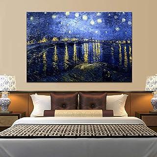 Pintura Famosa Carteles e Impresiones Arte de la Pared Lienzo Pintura Noche Estrellada sobre el Ródano por Van Gogh Decoración para el hogar para la Sala de Estar (Sin Marco) 30x40CM