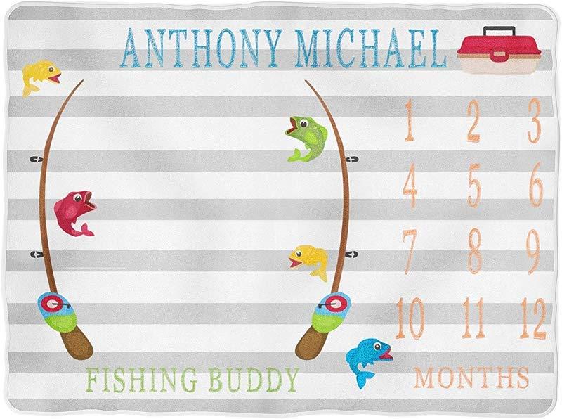 Fishing Milestone Blanket Month Blanket Baby Watch Me Grow Growth Personalized Baby Newborn Gift
