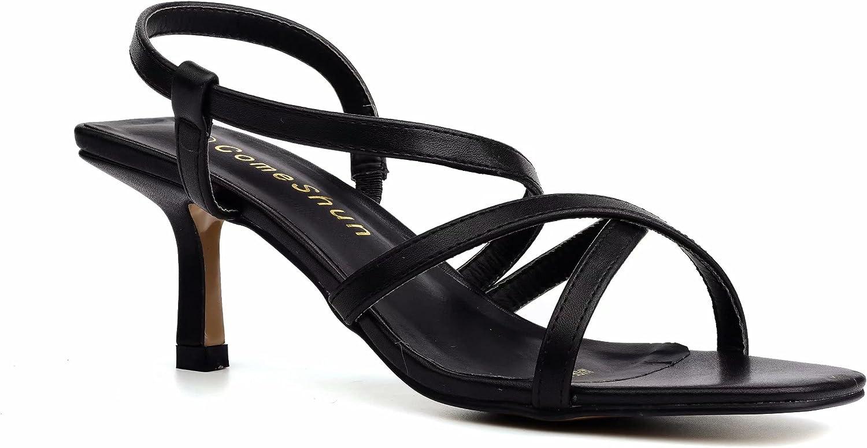 ComeShun Women Elastic Strap Kitten Heels Cross Strap Open Toe Sandals Comfort Slide Ons