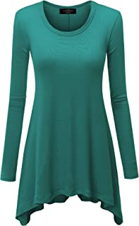 MBJ Womens Round Neck Long Sleeve Rib Trapeze Tunic Top - Made in USA