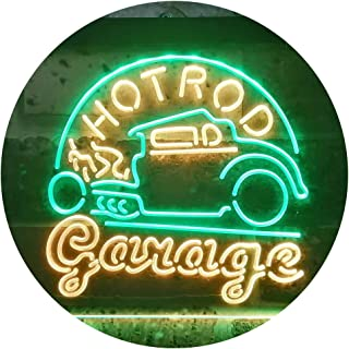 ADVPRO Hot Rod Garage Bar Dual Color LED Neon Sign Green & Yellow 24