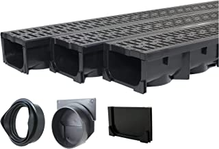 Drainage Trench - Channel Drain With Grate - Black Plastic - 3 x 39