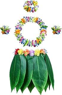 PIXHOTUL Falda de Hoja de Hula con Set de Hawaianas Leis Hibisco Pulseras, Diadema, Collares y Falda Disfraces para Fiesta Luau Playa (Patrón 1)