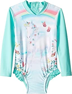 Mystical Garden Unicorn Long Sleeve Surf Tank One-Piece (Infant/Toddler/Little Kids)