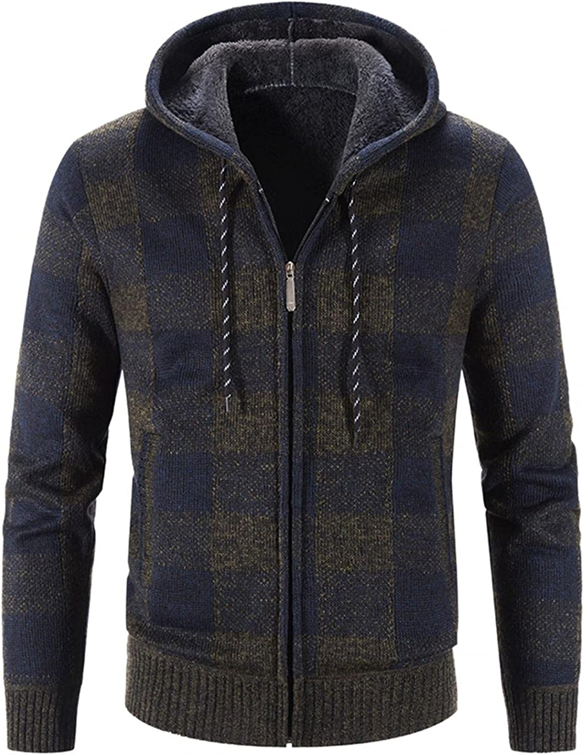 LEIYAN Mens Plaid Flannel Hooded Sweater Jacket Zip Up Long Sleeve Thicken Warm Open Front Cardigan Overcoat Plus Size